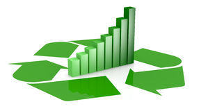 Recycling. One recycling symbol with a bar chart in center of it, that means growing of concepts of eco sustainability (3d render Stock Photos