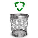 Recycling. Steel wastebasket with a recycling symbol. White background Royalty Free Stock Image