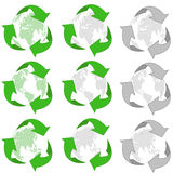 Recycling 3d icon set. Simple recycle 3-d symbols with world globe map: for business cards, postcards, print usage web Stock Photography