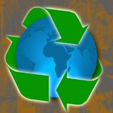 Recycling. A blue illustration of world's globe  and concept of recycling Stock Images