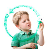Recycling. Little boy drawing recycling symbol on glass. Isolated on white Stock Photography