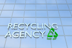 Recycling Agency concept. 3D illustration of a building with the script RECYCLING AGENCY along with recycling symbol Stock Photos
