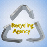 Recycling Agency concept. 3D illustration of Recycling Agency title encircled by a recycling symbol as a background Royalty Free Stock Photo