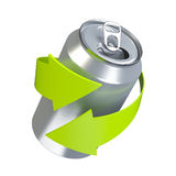 Recycling aluminum can. Concept illustration isolated on white background Stock Photos
