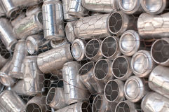 Recycling - Aluminum Cans. A container of aluminum drink cans collected for recycling Stock Photo