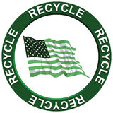 Recycling America. A recycling portraying environmental issues with a green American flag Stock Illustration