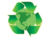 Recycling America. Recycling symbol with the continent of America on globe Royalty Free Stock Photography