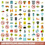 100 recycling analysis icons set, flat style. 100 recycling analysis icons set in flat style for any design vector illustration royalty free illustration