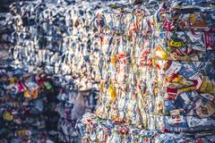 Free Recycling And Storage Of Waste For Further Disposal, Trash Sorting. Picture Of Recycled Plastic Waste Pressed To Bales. Plastic Bo Royalty Free Stock Photo - 187282015