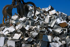 Recycling appliances. A pile of old appliances for metal recycling Stock Images