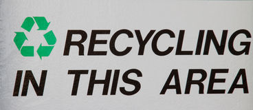 Recycling area sign. Area environment Stock Image