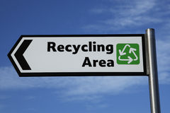 Recycling area sign Stock Photo