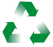 Recycling Arrows. Generic, green arrows indicating a recyclable product Royalty Free Stock Image