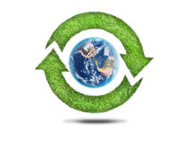 Recycling arrows and blue earth Stock Photography