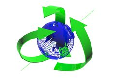 Recycling arrows, blue earth on a white background, 3d render Royalty Free Stock Image