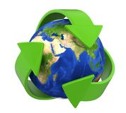 Recycling Arrows Earth Isolated. On white background. 3D render Stock Photos