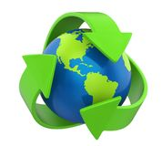 Recycling Arrows Earth Isolated. On white background. 3D render Stock Image