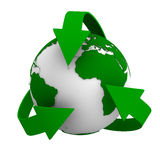 Recycling arrows and globe Royalty Free Stock Photo