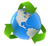 Recycling arrows and globe Royalty Free Stock Photography