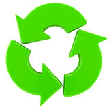 Recycling arrows sign. Isolated on white Stock Photography