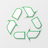 Recycling arrows symbol. Green recycling symbol with shadows isolated on white background Royalty Free Stock Photos