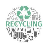 Recycling banner. Line and flat icons. Waste sorting set. Vector illustration. Recycling banner. Line and flat icons. Waste sorting set. Vector signs for web Royalty Free Stock Image
