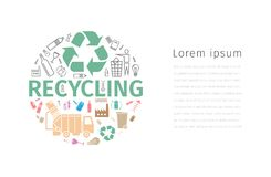 Recycling banner. Line icons. Waste sorting set. Vector illustration. Recycling banner. Line and flat icons. Waste sorting set. Vector signs for web graphics Stock Image