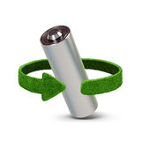 Recycling batteries and accumulators. Concept with green arrows from the grass. Recycling concept Stock Image
