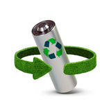 Recycling batteries and accumulators. Concept with green arrows from the grass. Recycling concept Royalty Free Stock Image