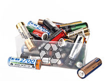 Recycling of battery. Box of batteries to recycling Stock Image
