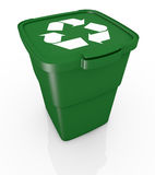 Recycling bin. One recycling bin closed, with recycling symbol (3d render Stock Image