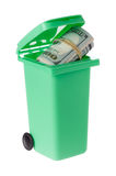 Recycling bin with banknotes Royalty Free Stock Photo