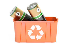 Recycling bin with batteries, 3D rendering. On  white background Royalty Free Stock Photography