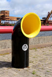 Recycling bin. Black and yellow empty recycling bin royalty free stock photos