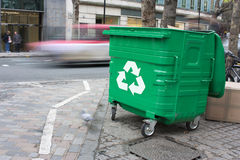 Recycling bin in the city Stock Photo