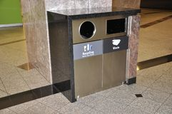 Recycling Bin Close up from Eating Zone inside Brookfield Place from Toronto. Eating Zone Recycling Bin inside Brookfield Place from Toronto of Ontario Province Stock Photos
