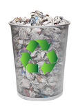 Recycling bin full of crumpled papers over white background Stock Photo