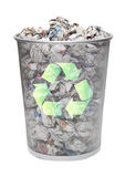 Recycling bin full of crumpled papers over white background Stock Photography