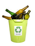 Recycling bin with glass Stock Images