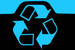 Recycling bin logo. In blue on black background Royalty Free Stock Image