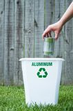 A recycling bin outside. With copy space Stock Image