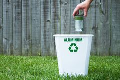 A recycling bin outside. With copy space Royalty Free Stock Photo