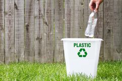 A recycling bin outside. With copy space Stock Photos
