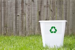A recycling bin outside. With copy space Royalty Free Stock Image