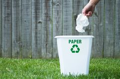 A recycling bin outside. With copy space Stock Photography