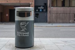 Recycling bin provided in Liverpool city centre, UK Royalty Free Stock Images