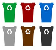 Recycling bins. Illustration of six recycling bins in different colors to represent allowed contents, isolated on white background Stock Photo