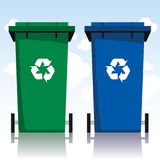 Recycling Bins. Illustration of two recycling bins Royalty Free Stock Images