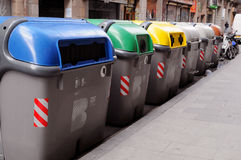 RECYCLING BINS BARCELONA Royalty Free Stock Photos