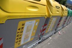 Recycling bins in Belluno Stock Image